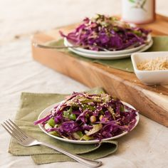 Purple Cabbage and Shaved Asparagus Slaw with Cumin-Sesame Dressing | http://mycaliforniaroots.com/cabbage-asparagus-slaw-sesame-dressing/
