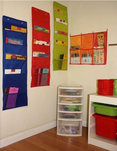 I think the clear pockets are ikea.  I like the idea of clear ones for markers and stickers.