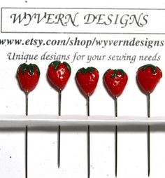 Collectible and functional Miniature Strawberry Decorative Sewing Pins Set of 5 Made In America   Wyverndesigns - Needlecraft on ArtFire #handmade #sewing #quilting #wyverndesigns