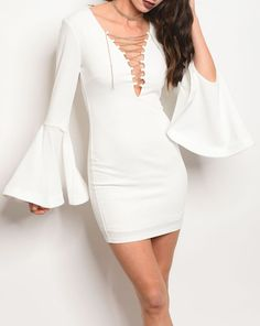 Ivory Micro Mini V-Neck Seamed Statement Bell Sleeve Sheath Dress | Sz 2 4 6 #Fashion #Dresses #Dress  #Sheath #StretchBodycon #BodyconDress #CocktailDress #sheathdress  #Cocktail