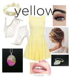 """""""yellow dress"""" by ericarae-1 on Polyvore featuring Charlotte Russe"""