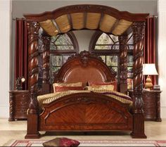 Bisini New Product Wood Bedroom Set Solid Luxury King Bed 4