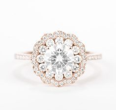 20 Unique Engagement Rings - rose gold and moissanite flower diamond halo engagement ring wedding