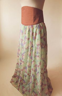 High Waisted Chiffon Maxi Skirt  Burnt Orange & Mint by Ragavon
