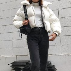 Aesthetic vintage art hoe trendy casual cool edgy grunge outfit fashion style idea ideas inspo inspiration for school for women winter summer puffy jacket white Outfits Hipster, Mode Outfits, Trendy Outfits, Fashion Outfits, Fashion Ideas, Fashion Clothes, Hipster Clothing, Fashionable Outfits, Men Clothes