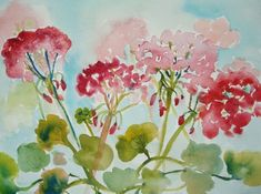 How to Paint Geraniums in Watercolor: 13 Steps (with Pictures) Watercolor Sketch, Watercolor Cards, Abstract Watercolor, Watercolour Painting, Painting & Drawing, Watercolors, Watercolor Ideas, Sketch Art, Painting Tips
