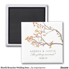 Blissful Branches Wedding Date Magnet Fridge Magnet