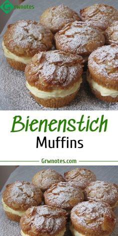 Bienenstich Muffins 😍 Ingredients: For the topping: 80 g whipped cream 30 g honey, clear, aromatic 20 g sugar 160 g almond (s) leafy Quick Dessert Recipes, Muffin Tin Recipes, Easy Dinner Recipes, Sweet Recipes, Cake Recipes, New Cake, Recipe For 4, Yummy Cakes, Finger Foods