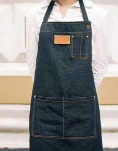 Unisex Black Denim Bib Apron with Convenient Pockets. Suitable for Uniforms of Barber,Hairdresser,Barista,Bartender,Stylist,Waiter/Waitress,Florist,Painter,Gardener, Baker,Chef,or Work ware of Cafe, Bistro, Restaurant,Bakery,Tattoo shop,Craft workshop etc.
