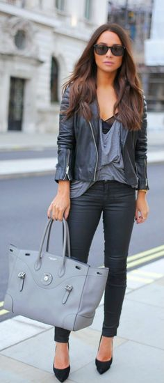 Street style | Edgy black leather | Just a Pretty Style