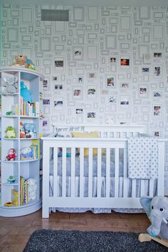 """A nursery in Venice, California featuring Graham & Brown's """"Frames"""" wallpaper. 