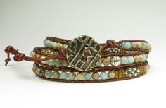 Three wrap bracelet of snake skin jasper and seed bead designs by RedVioletDesign on Etsy
