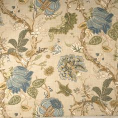 Home Decor Fabric Swatch-Print Fabric Eaton Square Dion Green Tea Floral Upholstery Fabric, Pillow Fabric, Drapery Fabric, Curtains, Chair Fabric, Chair Upholstery, Floral Fabric, Linen Fabric, Eaton Square