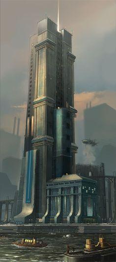 Personal Project-Common Expanse- Amberth, Christian Piccolo on ArtStation Fantasy City, Fantasy Places, Sci Fi Fantasy, Fantasy World, Cyberpunk City, Futuristic City, Futuristic Architecture, Environment Concept Art, Environment Design