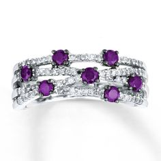 Purple Diamond Ring 3/4 ct tw Round-cut 14K White Gold