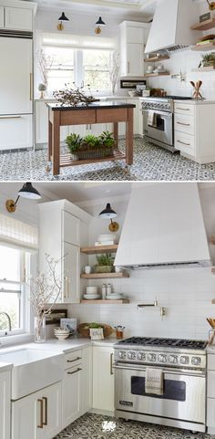 There's no need to sacrifice style in a smaller space. A butcher-block island and open shelving create convenient storage and an airy feel. A monochromatic white palette from cabinetry to quartz countertops really opens up the kitchen. Wall-sconce lighting and a range hood matched to the backsplash draw the eye up. Fresh greenery and artisan floor tiles liven up the space with movement and texture.