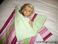 Cute and easy way to make an American Girl Doll sleeping bag.