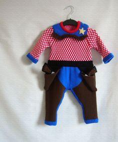 Knitted cowboy onesie!