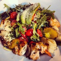 Mediterranean seafood salad. Grilled scallops, sea bass, salmon, and shrimp atop a bed of arugula and greens with avocado slices. Yum in the tum! Ugh I love fooooood!!!! :D Do you!??