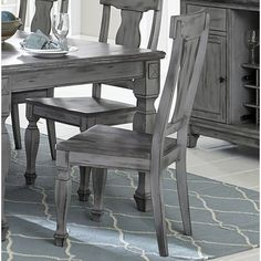 One Allium Way Michaela Solid Wood Queen Anne Back Dining Chair in Antique Brown with Gray Undertones (Set of