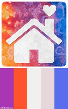 Abstract Acrylic Icon - Home Is Where The Heart Is Color Scheme