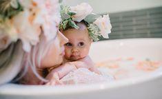 Milk bath. Mommy& daughter