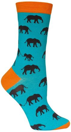 Turquoise crew length socks with grey elephant silhouettes and orange toes, heels, and tops. Fits women's shoe size 5-10.