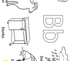Alfabet - litera B - kolorowanki, malowanki dla dzieci do druku. Polish Alphabet, Polish Language, Easter Coloring Pages, School, Speech Language Therapy