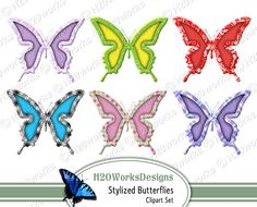 Stylized Butterflies Clipart - Digital Collage Sheet by H20worksDesigns