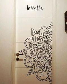 vinilos decorativos mandalas ganesha buda namaste hindues Mandala Mural, Mandala Doodle, Mandala Drawing, Mandala Painting, Painted Bedroom Doors, Painted Doors, Wall Art Designs, Paint Designs, Mural Art