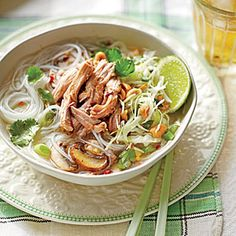 Fragrant Pork Noodle Bowls are light enough for warm weather but sustantial enough for dinner. Assemble the noodle bowls stoveside, ladling the piping-hot broth into the bowls to coax the flavors of the individual ingredients into perfect harmony.