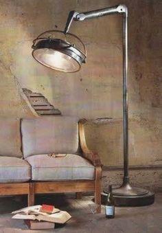 Covington*Design: The Shabby - Industrial Look - Vintage - Floor - Lamp Lampe Industrial, Industrial Style Lamps, Industrial Flooring, Industrial House, Modern Industrial, Industrial Furniture, Vintage Industrial, Industrial Design, Industrial Industry