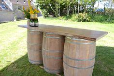 Cider barrel with oak top bar - stunning for an outdoor bar area.