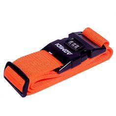 Aomidi Luggage Strap 3 Digit Combination Luggage Straps Suitcase Belt(ORANGE)