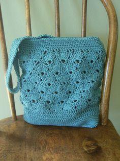 SALE 25 Off Crochet Crossbody Messenger Bag by kathyscrochetcloset, $30.00