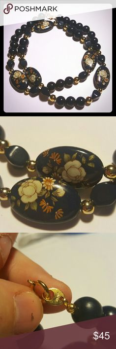 Vintage Japanese Cloisonne Lucite Necklace This is a beautiful painted cloisonne lucite necklace. It is navy blue and signed japan. Exhibits goldtone beads as well. Mint condition. Vintage Jewelry Necklaces