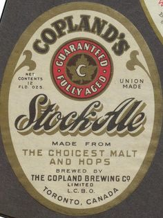 Copland's Stock Ale by Thomas Fisher Rare Book Library, via Flickr