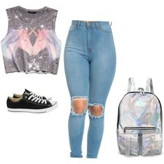 Untitled #46 by saraiar on Polyvore featuring moda, Converse and Forever 21