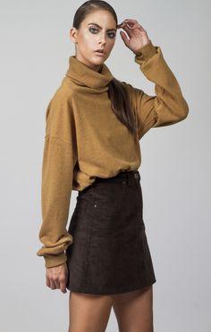 Corduroy A line retro skirt. This staple is definitely making a comeback. Corduroy, Mini Skirts, Turtle Neck, Sweaters, How To Make, Fashion, Moda, Fashion Styles, Sweater