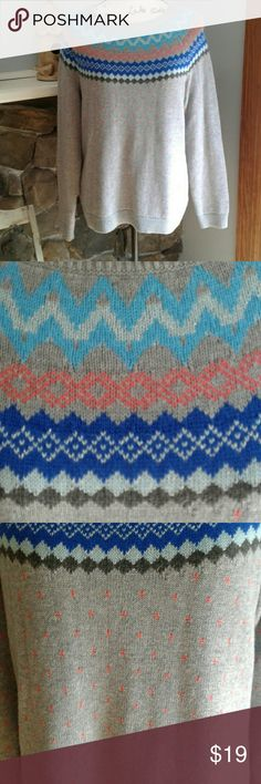 Talbots Fair Isle Sweater For sale is a super cute Fair Isle sweater from Talbots. It is gray with with blue and coral. NEW WITH TAGS. Size Large Petite. Offers welcome. Talbots Sweaters Crew & Scoop Necks