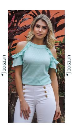 Ideas For Moda Primavera 2019 Juvenil White Jeans Outfit, Denim Outfit, Stylish Tops, Casual Tops For Women, Tropical Outfit, Teen Fashion, Womens Fashion, Dress Neck Designs, Crop Top Outfits