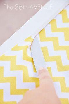 DIY Chevron Fabric Covered Pin Board