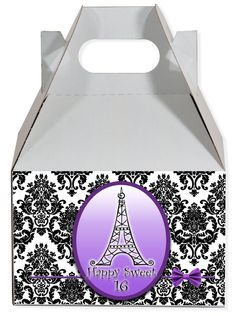 World of Pinatas - Paris in Purple Personalized Gable Box (set of 6), $11.99 (http://www.worldofpinatas.com/paris-in-purple-personalized-gable-box-set-of-6/)