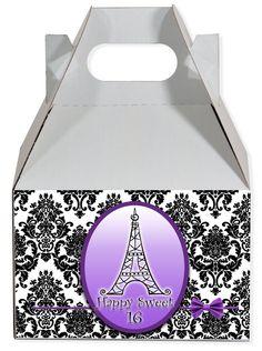 World of Pinatas - Paris in Purple Personalized Gable Box (set of 6), $11.99 (http://www.worldofpinatas.com/paris-in-purple-personalized-gable-box-set-of-6/)
