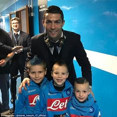 Cristiano Ronaldo poses with Marek Hamsik's three sons after Real Madrid's win over Napoli. #realmadrid