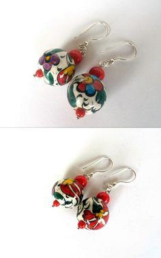 Ceramic Earrings Boho Earrings Spring Earrings by GULDENTAKI