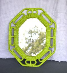 Lime Green Upcycled Vintage Mirror...great for Modern decor Teen Bedroom Playroom. $22.00, via Etsy.