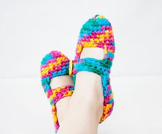 Burdock  Easy Bulky Mary Jane Slippers  Crochet by SpringCasual