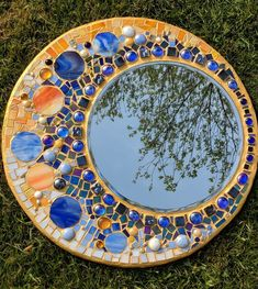 Stained glass mirror mosaic mirror circular stained glass & Etsy Article Gallery Ideas] The post Stained glass mirror mosaic mirror circular stained glass Stained Glass Mirror, Mirror Mosaic, Mosaic Diy, Sea Glass Art, Mirror Art, Mosaic Glass, Window Glass, Mosaic Garden, Mosaic Crafts
