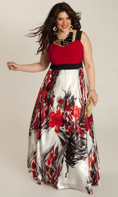 Black maxi dress with red flowers